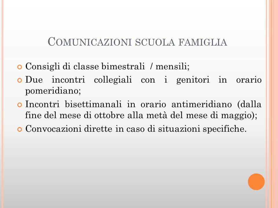 Comunicazioni scuola famiglia