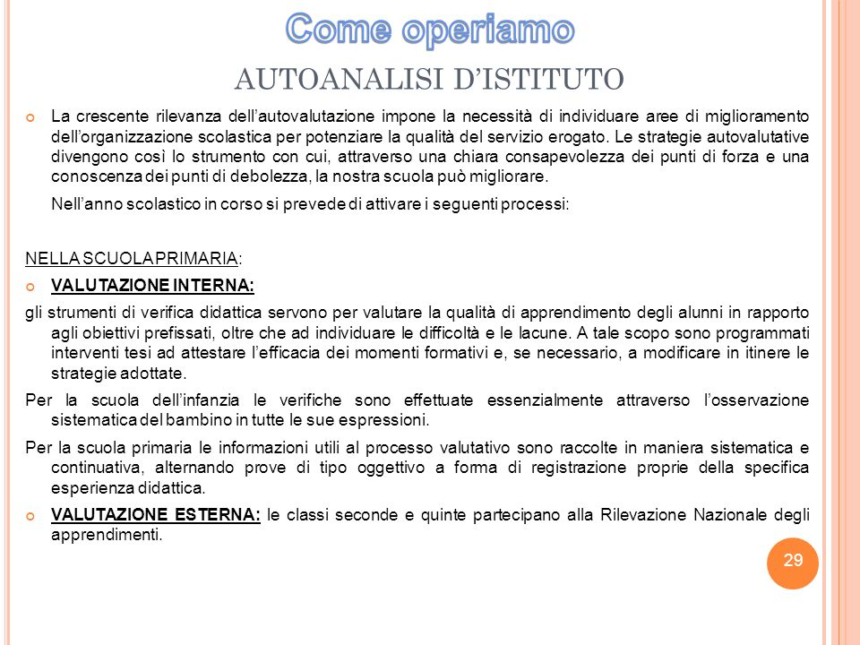AUTOANALISI D'ISTITUTO