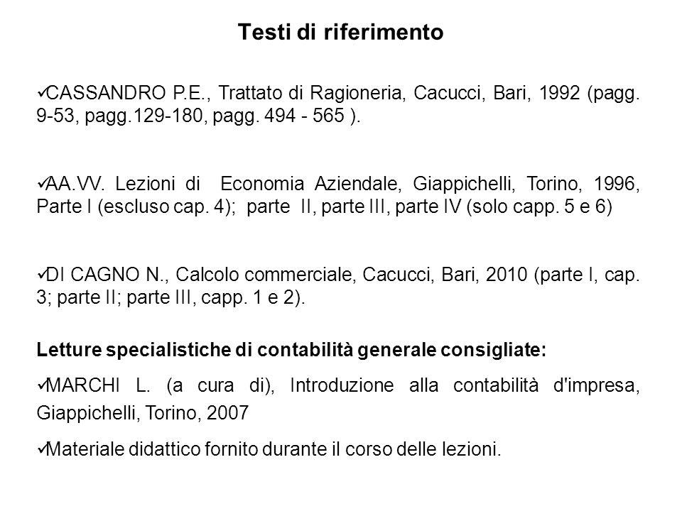 Testi di riferimento CASSANDRO P.E., Trattato di Ragioneria, Cacucci, Bari, 1992 (pagg. 9-53, pagg.129-180, pagg. 494 - 565 ).
