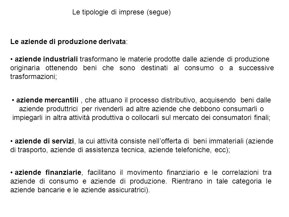 Le tipologie di imprese (segue)