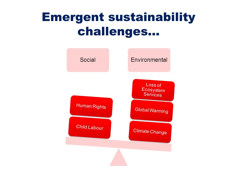 Emergent sustainability challenges…