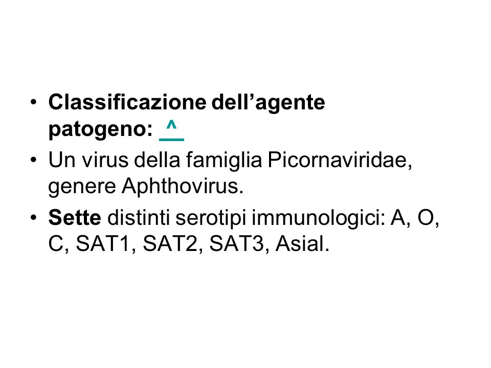 Classificazione dell'agente patogeno: ^