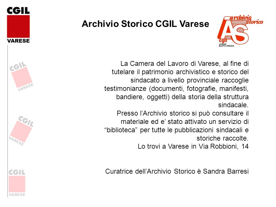 Archivio Storico CGIL Varese