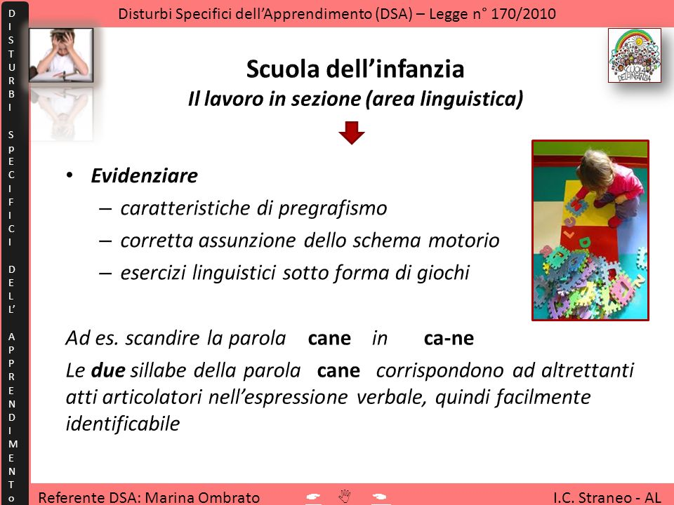 Scuola dell'infanzia Il lavoro in sezione (area linguistica)