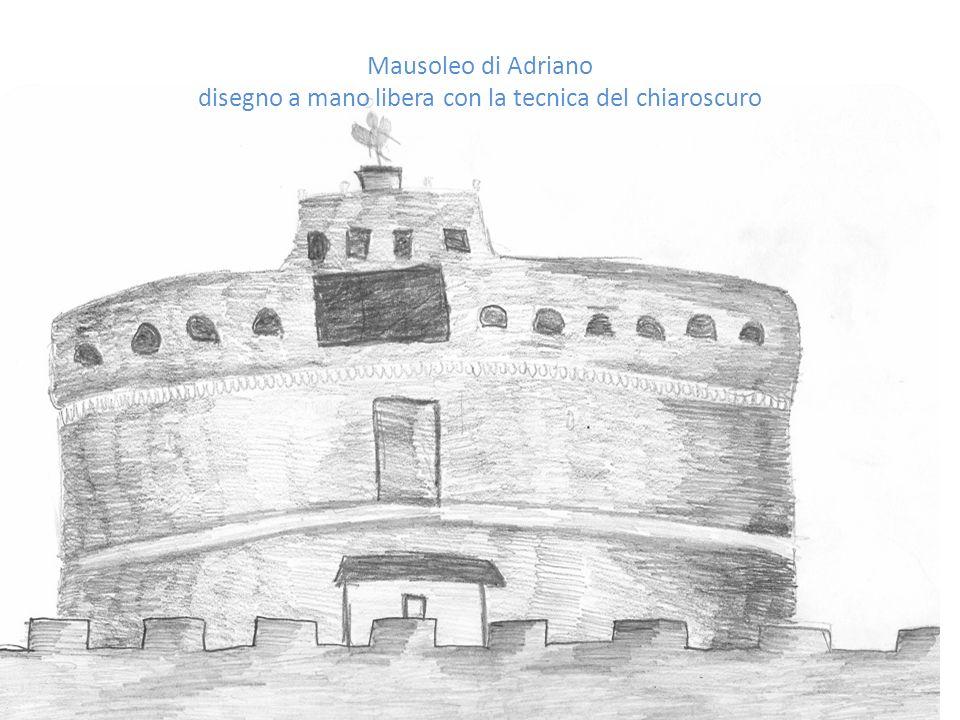 Mausoleo di Adriano disegno a mano libera con la tecnica del chiaroscuro