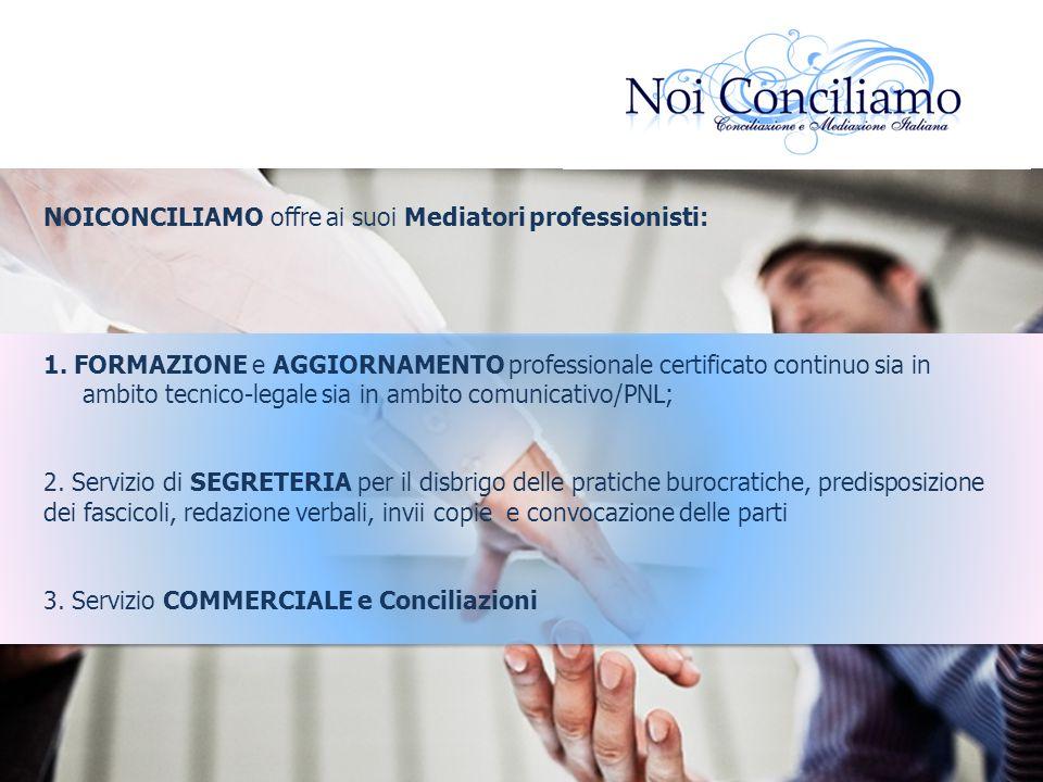 NOICONCILIAMO offre ai suoi Mediatori professionisti: