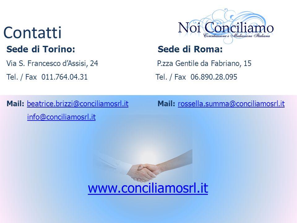 Contatti www.conciliamosrl.it Sede di Torino: Sede di Roma:
