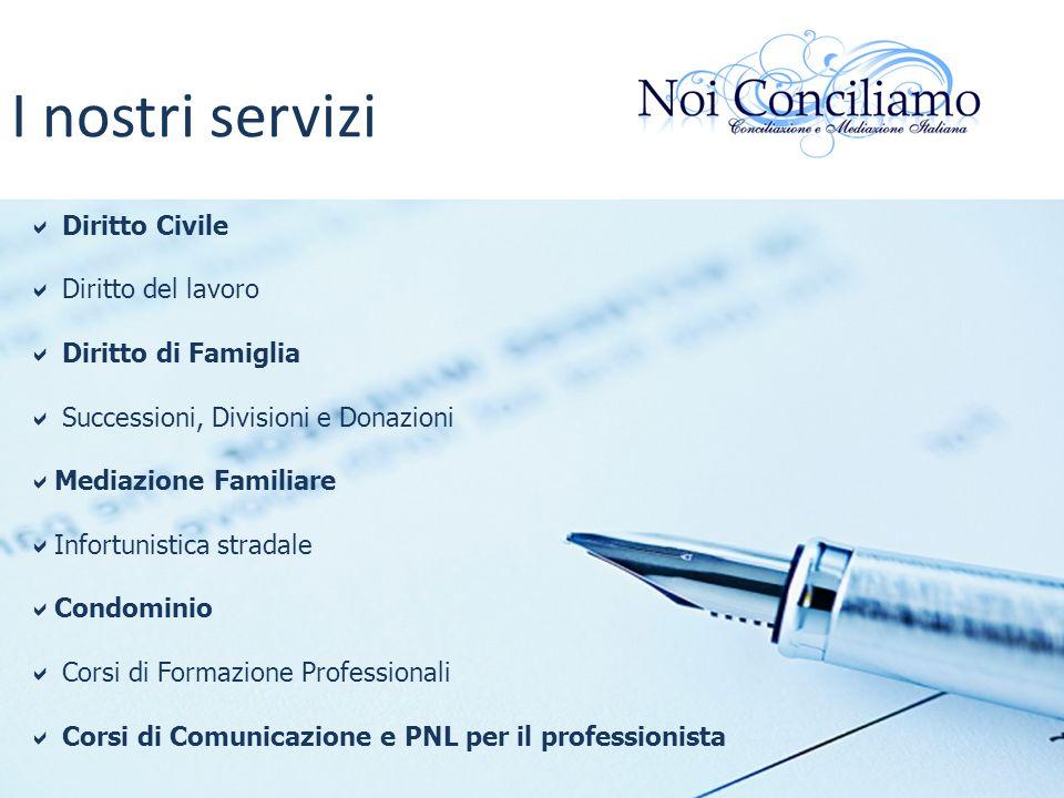 I nostri servizi Diritto Civile Diritto del lavoro Diritto di Famiglia