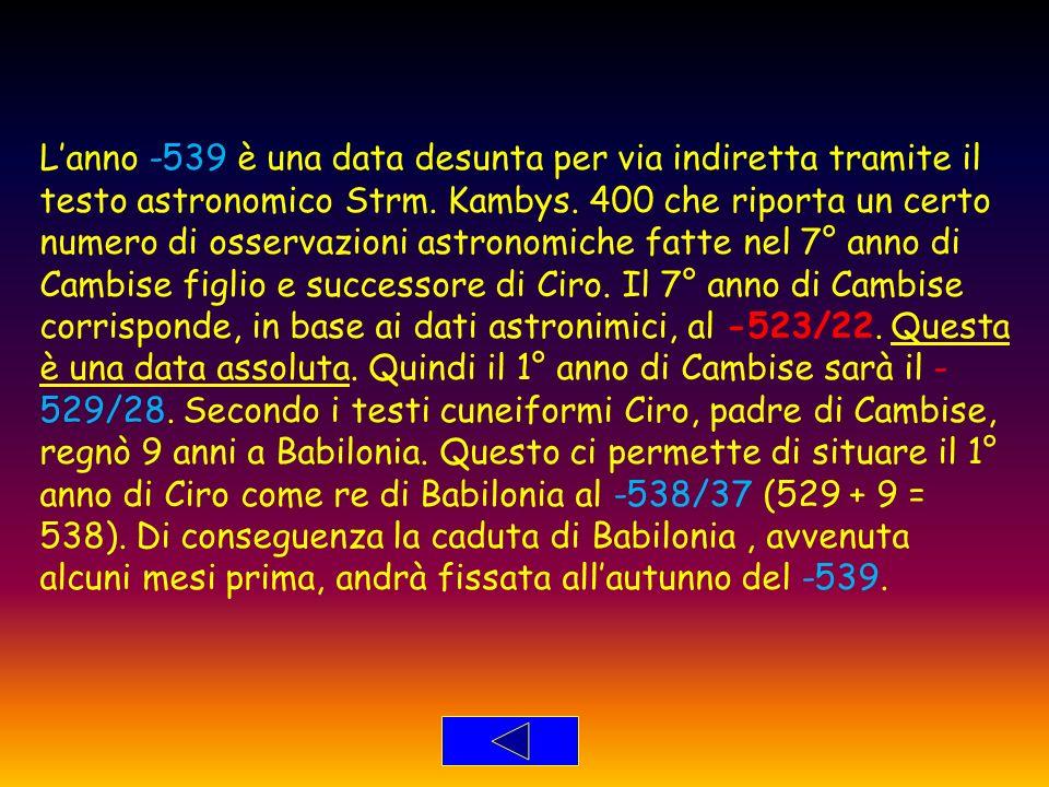 L'anno -539 è una data desunta per via indiretta tramite il testo astronomico Strm.