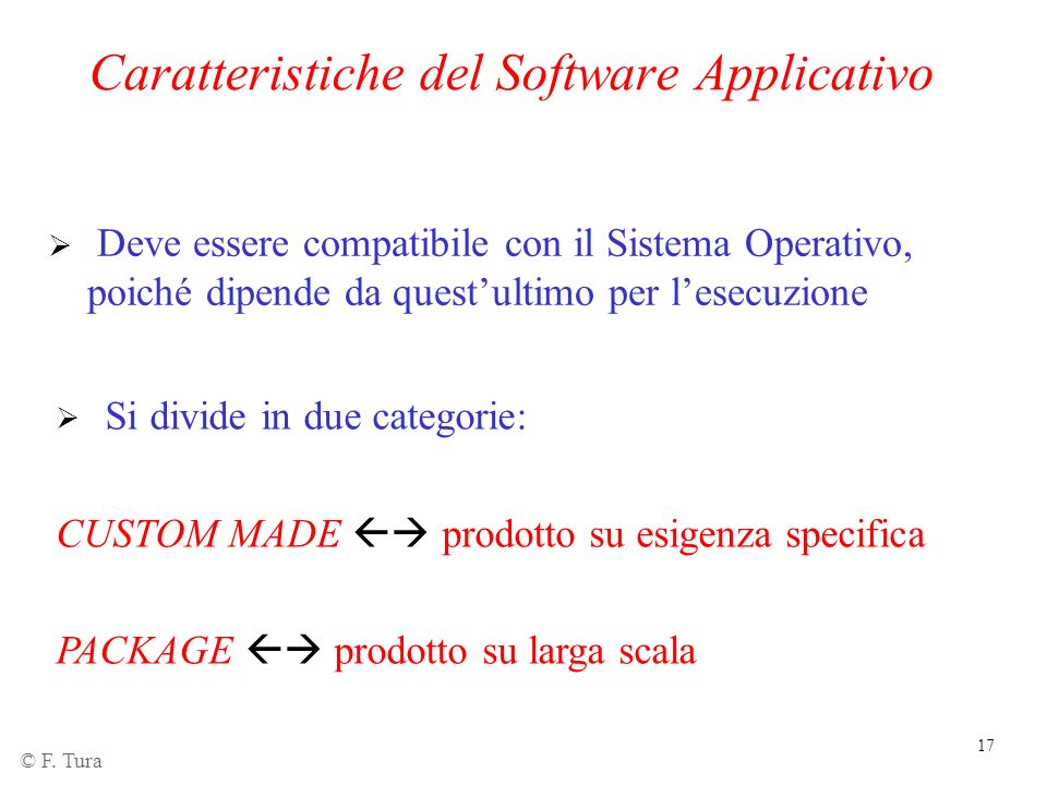 Caratteristiche del Software Applicativo