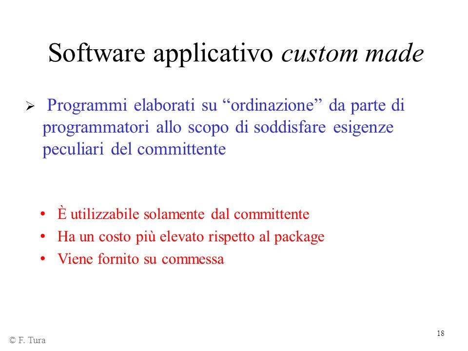 Software applicativo custom made