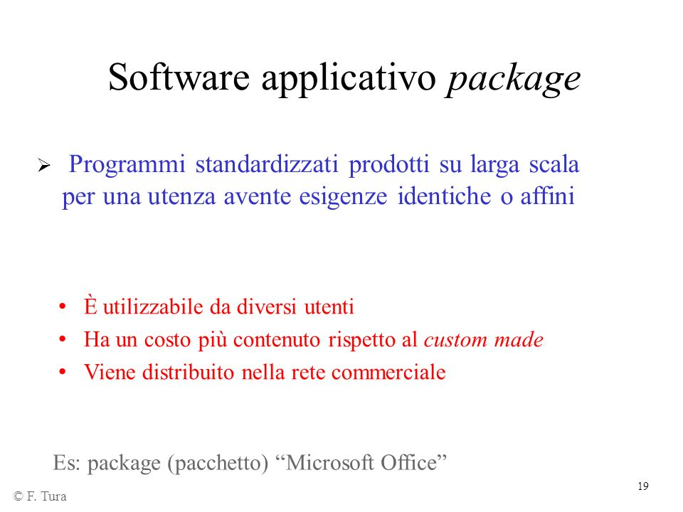 Software applicativo package