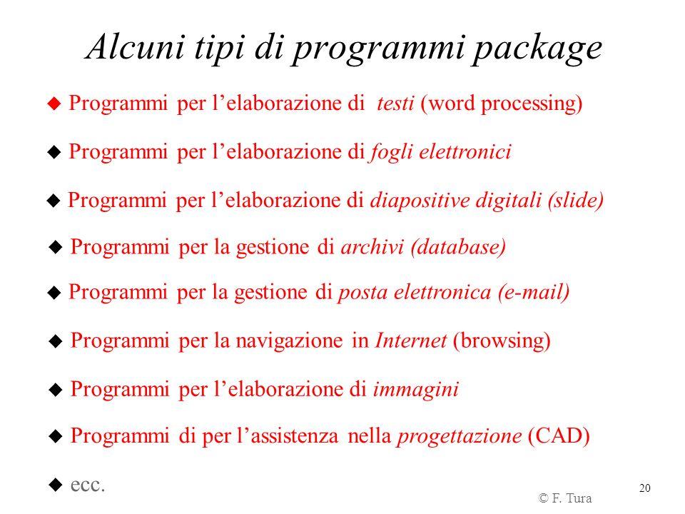 Alcuni tipi di programmi package