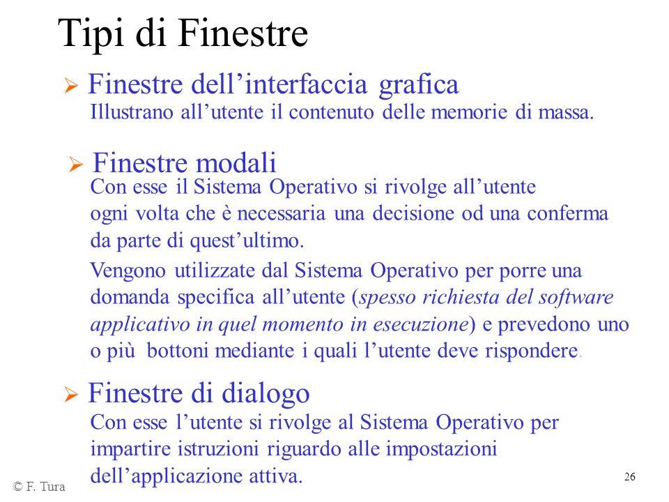 Tipi di Finestre Finestre dell'interfaccia grafica Finestre modali