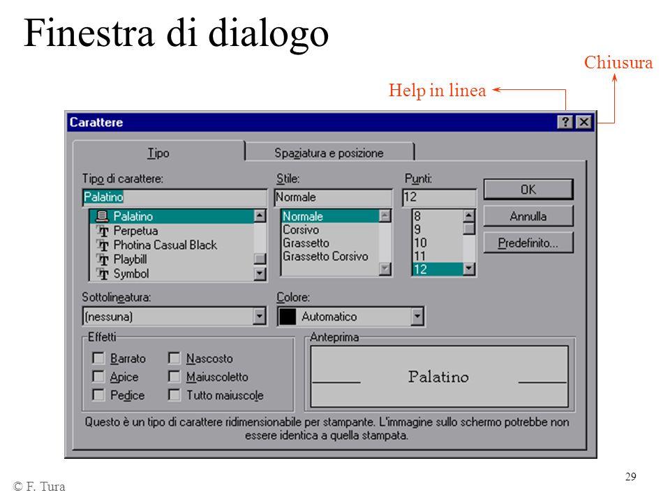 Finestra di dialogo Chiusura Help in linea © F. Tura