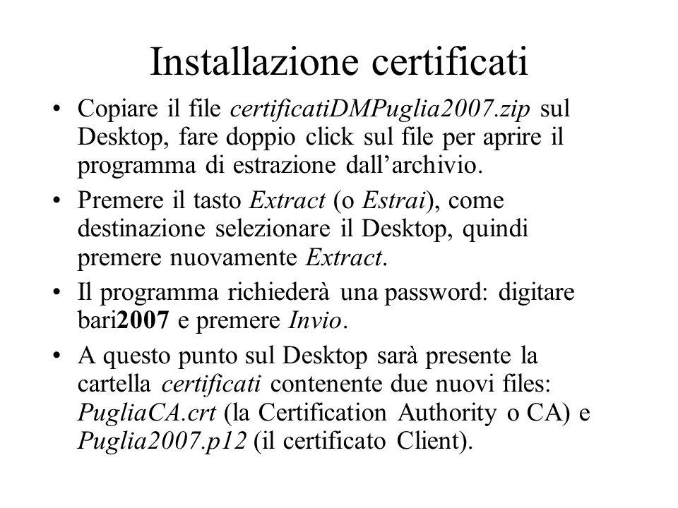 Installazione certificati