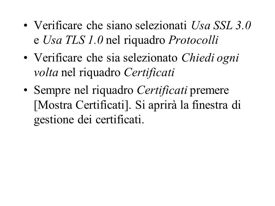 Verificare che siano selezionati Usa SSL 3. 0 e Usa TLS 1
