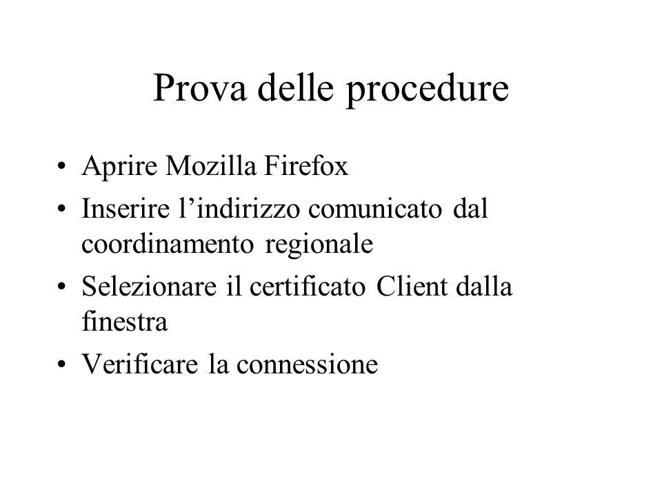 Prova delle procedure Aprire Mozilla Firefox
