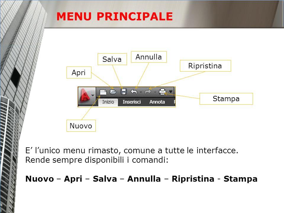 MENU PRINCIPALE E' l'unico menu rimasto, comune a tutte le interfacce.