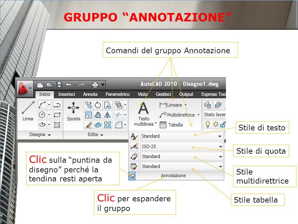 GRUPPO ANNOTAZIONE Comandi del gruppo Annotazione. Stile di testo. Stile di quota. Clic sulla puntina da disegno perché la tendina resti aperta.