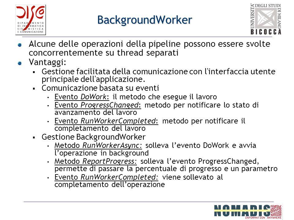 BackgroundWorker Alcune delle operazioni della pipeline possono essere svolte concorrentemente su thread separati.