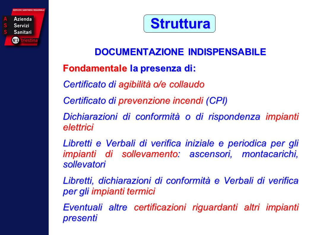 DOCUMENTAZIONE INDISPENSABILE