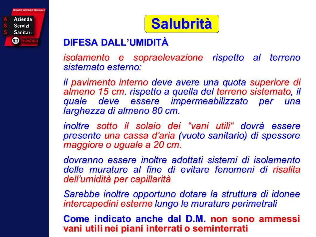 Salubrità DIFESA DALL'UMIDITÀ