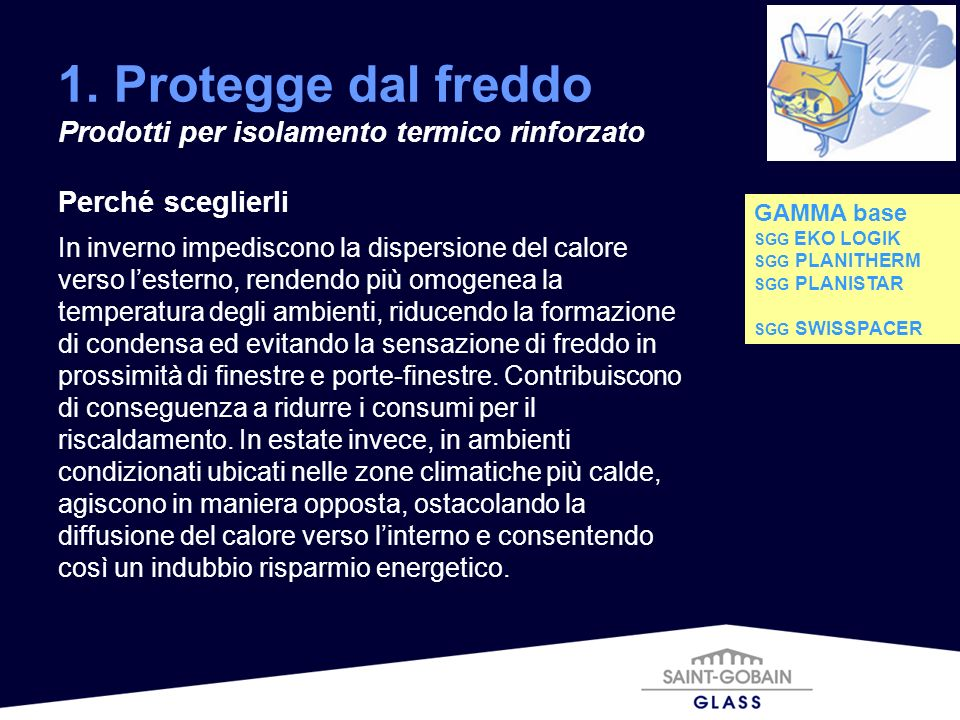 1. Protegge dal freddo Prodotti per isolamento termico rinforzato