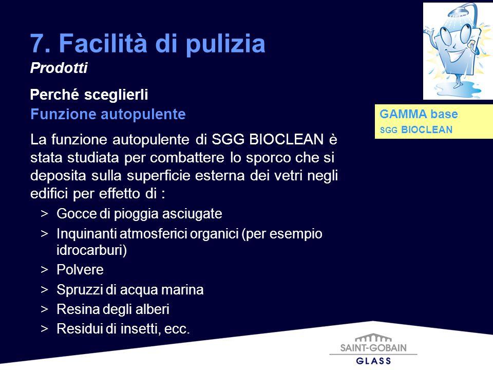 7. Facilità di pulizia Prodotti Perché sceglierli Funzione autopulente