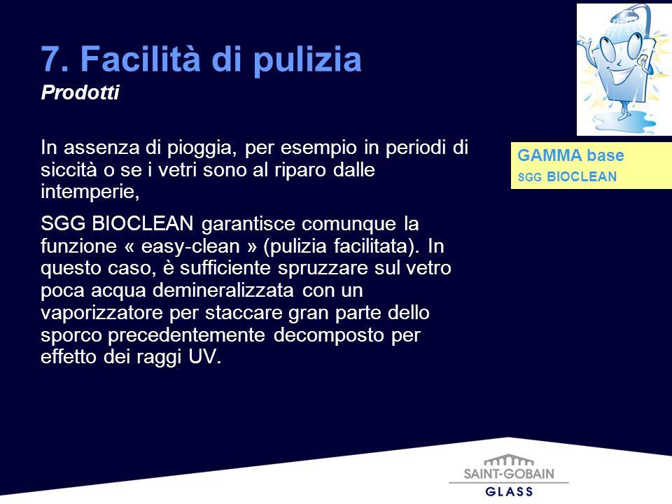7. Facilità di pulizia Prodotti