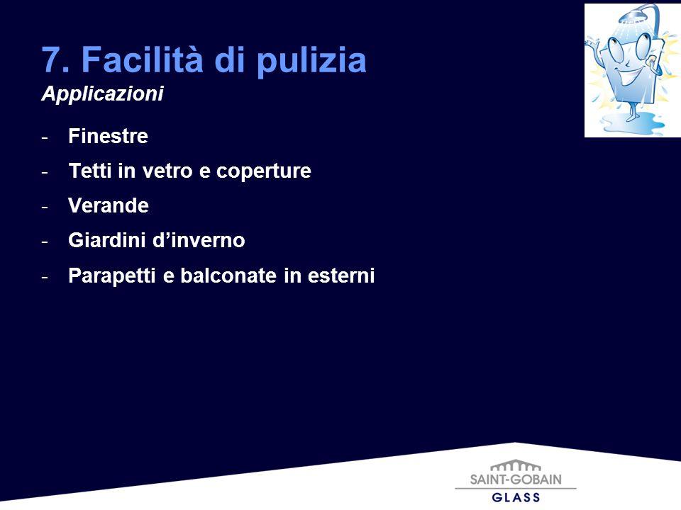 7. Facilità di pulizia Applicazioni Finestre
