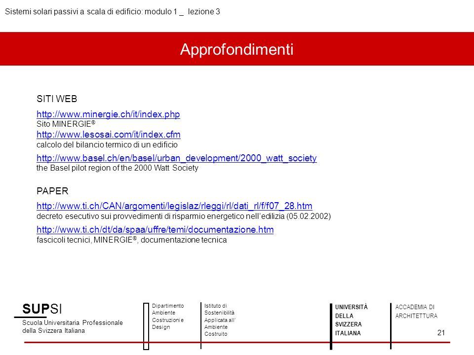 Approfondimenti SUPSI SITI WEB http://www.minergie.ch/it/index.php