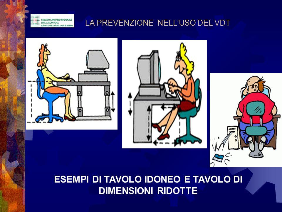ESEMPI DI TAVOLO IDONEO E TAVOLO DI DIMENSIONI RIDOTTE