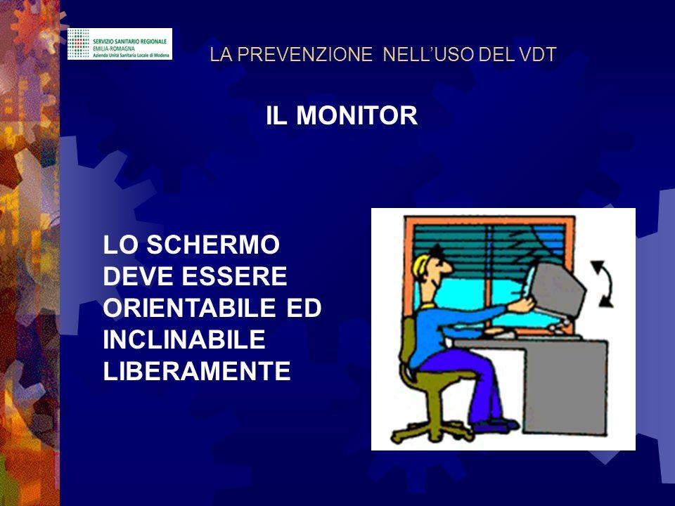 LO SCHERMO DEVE ESSERE ORIENTABILE ED INCLINABILE LIBERAMENTE