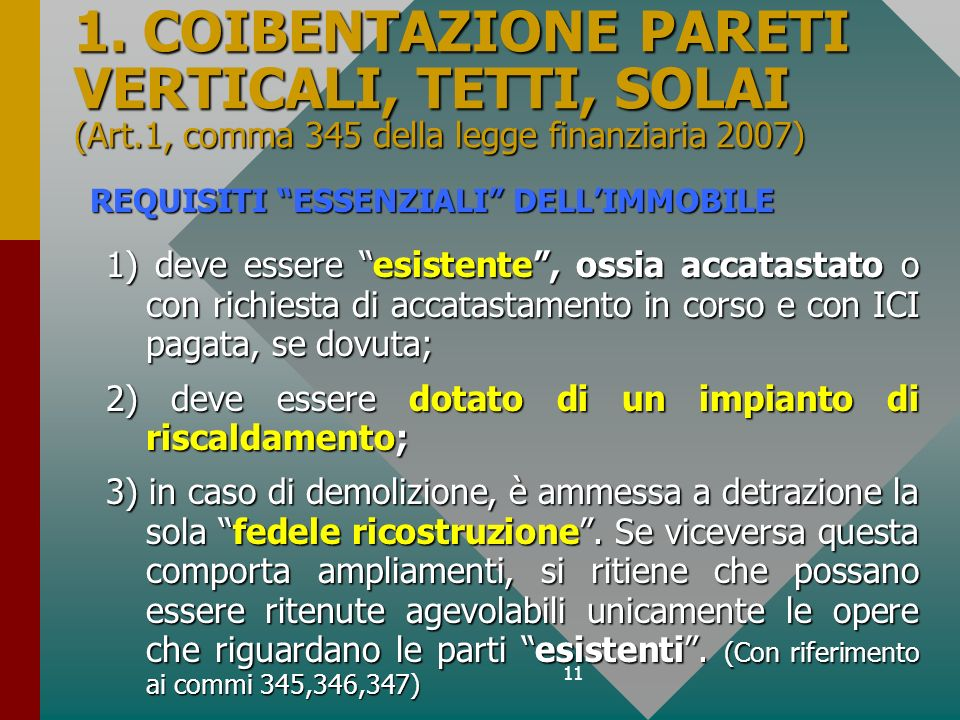1. COIBENTAZIONE PARETI VERTICALI, TETTI, SOLAI (Art