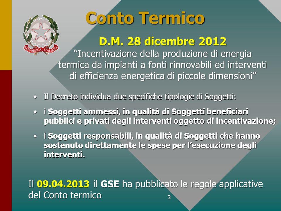 Conto Termico D.M. 28 dicembre 2012