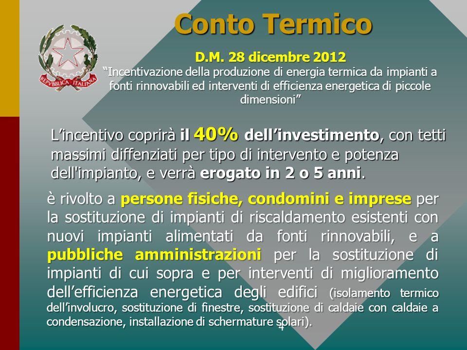 Conto Termico D.M. 28 dicembre 2012.