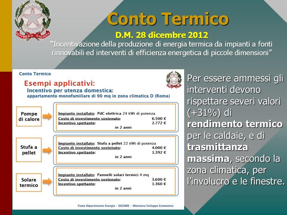 Conto TermicoD.M. 28 dicembre 2012.