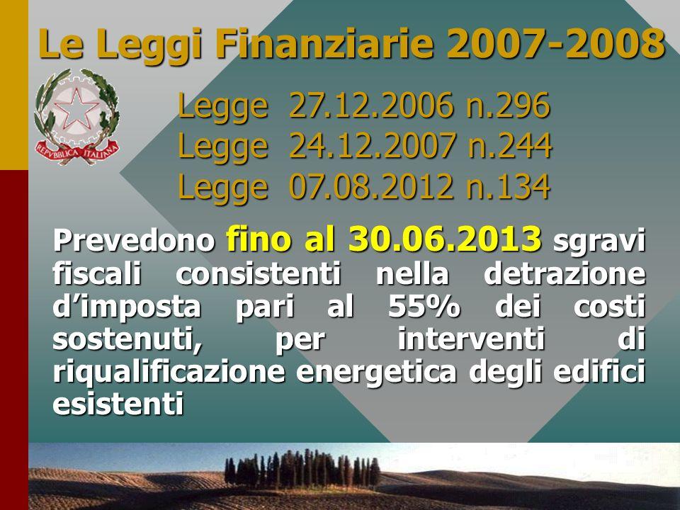 Le Leggi Finanziarie 2007-2008 Legge 27.12.2006 n.296 Legge 24.12.2007 n.244. Legge 07.08.2012 n.134.