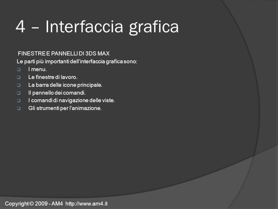 4 – Interfaccia grafica FINESTRE E PANNELLI DI 3DS MAX