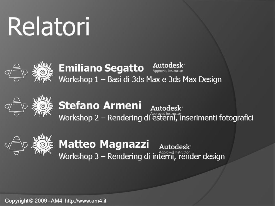 Emiliano Segatto Workshop 1 – Basi di 3ds Max e 3ds Max Design