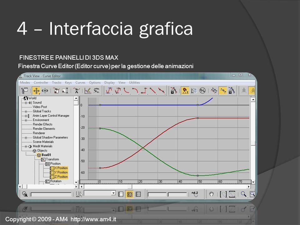 4 – Interfaccia grafica FINESTRE E PANNELLI DI 3DS MAX Finestra Curve Editor (Editor curve) per la gestione delle animazioni