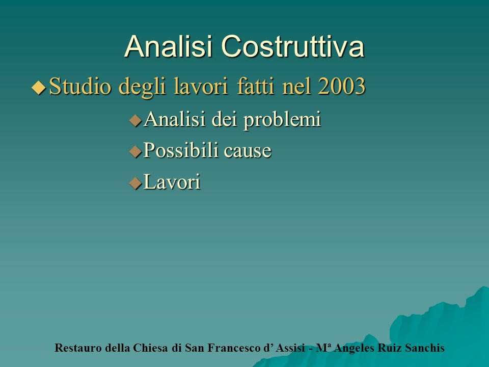 Analisi Costruttiva Studio degli lavori fatti nel 2003