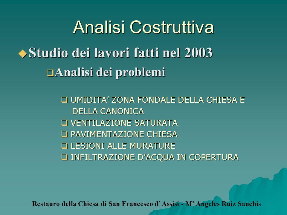 Analisi Costruttiva Studio dei lavori fatti nel 2003