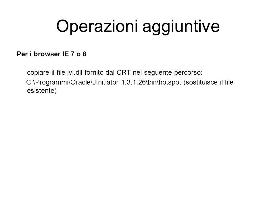 Operazioni aggiuntive