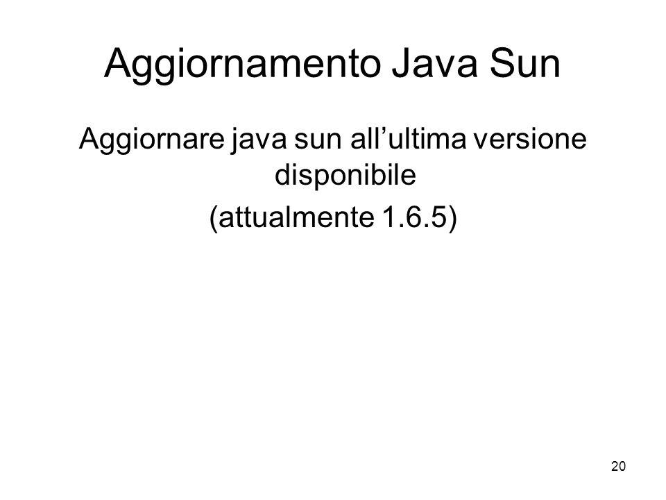 Aggiornamento Java Sun
