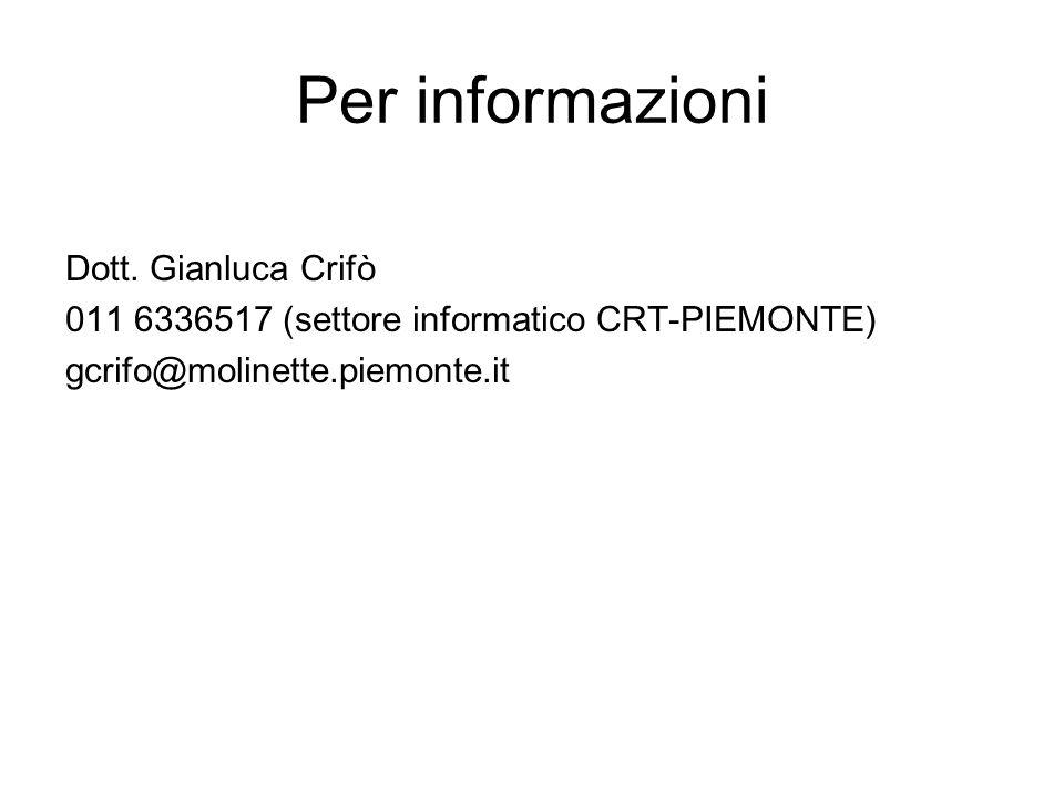 Per informazioni Dott. Gianluca Crifò