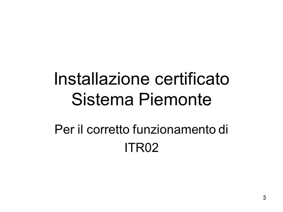 Installazione certificato Sistema Piemonte