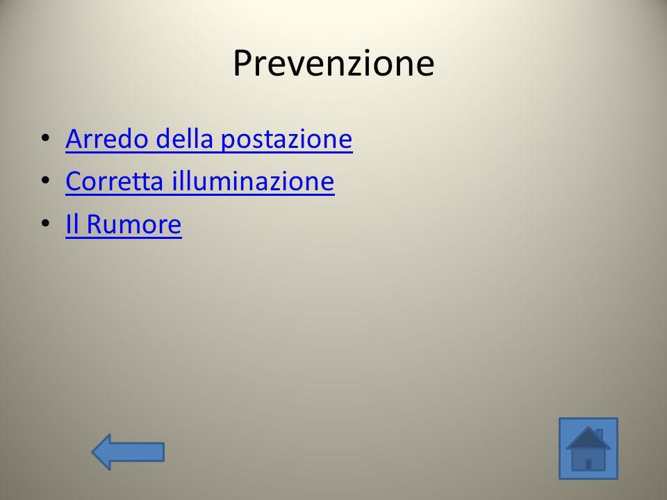 Prevenzione Arredo della postazione Corretta illuminazione Il Rumore