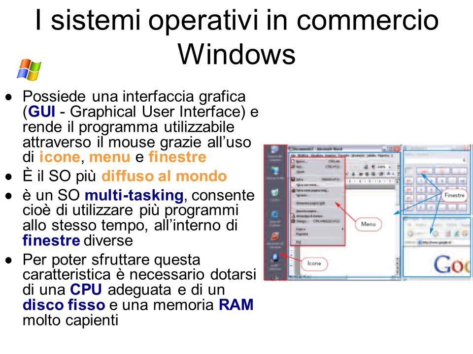 I sistemi operativi in commercio Windows